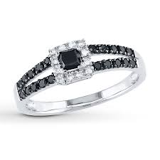 princess cut black engagement rings black ring 1 2 ct tw princess cut 10k white gold