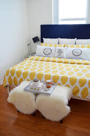 navy and yellow bedroom decor mod max glam