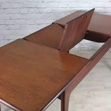 help id danish modern teak hidden leaf extension dining table