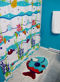 theme decor for bathroom beautiful shower curtain with fish theme for kids bathroom