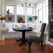 modern cottage dining spaces banquette with built in drawers wood
