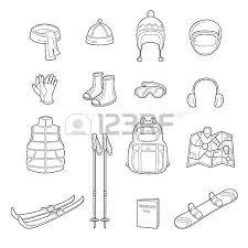 winter equipment icons set equipment winter season vacation
