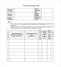 sample hr action plan corrective action plan template word sample