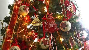 shinning metal christmas decorations spinning at the christmas