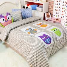 Girls Jungle Bedding by Purple Green Yellow And Gray Retro Night Owl Print With Grey And