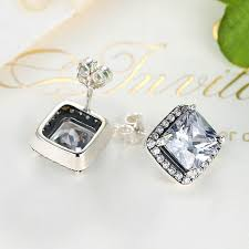 warren stud earrings aliexpress buy cici warren 100 925 sterling silver asscher