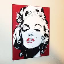 marilyn monroe 11 x 14graffiti spray paint canvas 20 00 via