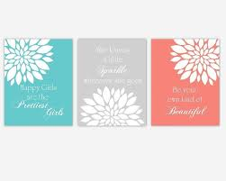 Girls Bedroom Artwork Amazon Com Coral Teal Aqua Gray Grey Flower Dahlia Mums Floral