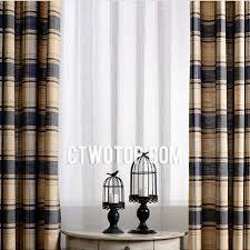 Blue Plaid Curtains Modern Simple Plaid Blue Linen Curtains