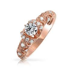 filigree art deco cz rose gold vermeil engagement ring 925 silver