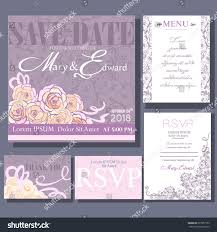 Small Invitation Cards Set Wedding Cards Announcement Small Rose Stock Vector 397957192