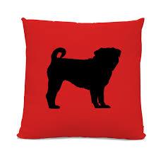 pug home decor pug silhouette pillow your choice of color modern home decor