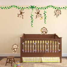 Nursery Monkey Wall Decals Monkey Jungle Tree Vine Forest Wall Decal Safari Birds Sticker Set