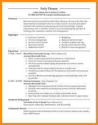 Sample Resume Accounts Receivable 11 Sample Resume For Clerical Azzurra Castle Grenada