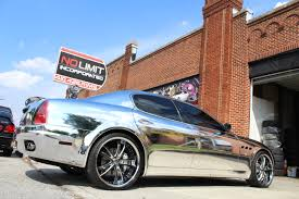 chrome blue maserati maserati quattroporte with full chrome wrap no limit inc