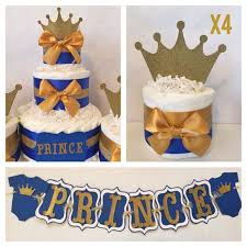 prince baby shower party package in royal blue and gold