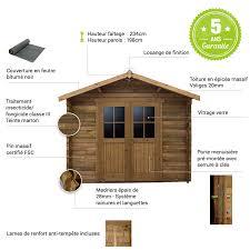 abri de jardin 9m2 abri en bois massif 9m plus 28mm traité teinté marron gardy shelter
