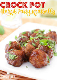 crock pot glazed party meatballs the country cook
