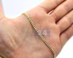 3mm diamond 14k yellow gold solid cuban diamond cut link mens chain 3 mm