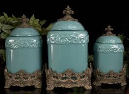 tuscan kitchen canisters sets set of 3 turquoise fleur de lis kitchen canisters set tuscan large