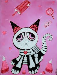 kitty cat candy sweet day of the dead art