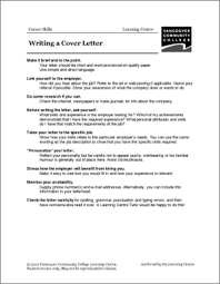 resume and cover letter vcc lc worksheets resumes cover letters
