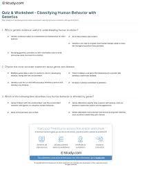 quiz u0026 worksheet classifying human behavior with genetics