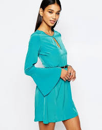 lipsy lipsy belted skater dress with keyhole neck and bell sleeve