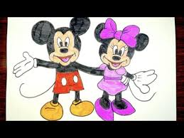 how to draw mickey mouse and minnie mouse together kids coloring