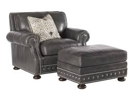 Gray Leather Ottoman Furniture Fascinating Gray Leather Chair With Square Padded