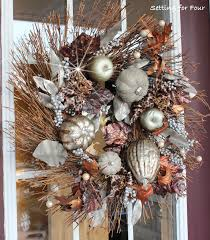 metallic fall wreath curb appeal setting for four