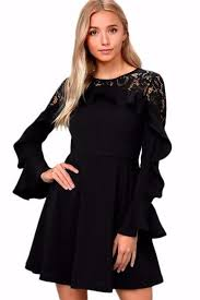 black dress uk fashion black lace sleeve flattering skater dress