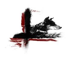 black and red trash polka domestic animal tattoo design