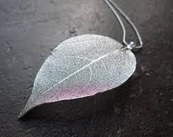 silver leaf necklace pendant images Real leaf pendant etsy jpg