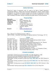 sridhar v resume short april 2015