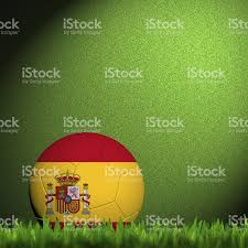 Spanish Flag Circle 3d Football Spain Flag Patter In Green Grass Stock Photo Istock