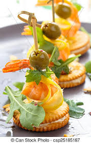 canapes with prawns prawn canapes prawn canapes with arugula leaves and olives