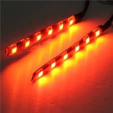 led light strip turn signal 2pcs universal amber 6 led motorcycle strip turn signal indicator