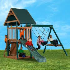 wood playset with swings sandbox u0026 slide mongoose manor