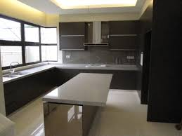 combination of wooden kitchen cabinets with modern standalone