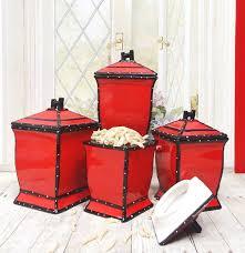 amazon com tuscany hand painted red ruffle 4pcs canister set