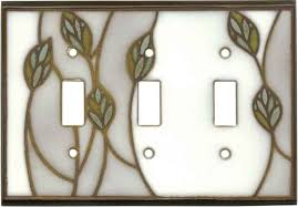 rocker light switch cover three leaves ceramic decorative wall plates