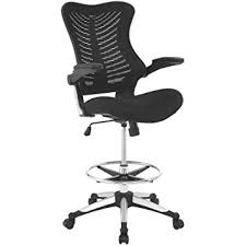 amazon com modway charge drafting chair in black reception desk