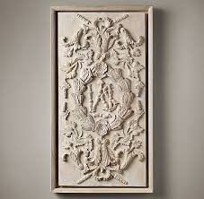 carved rococo wood panel large white painel de