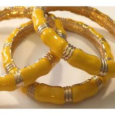 amber bangle bracelet images Wholesale gold tone yellow enamel bamboo cuff bracelet jpg