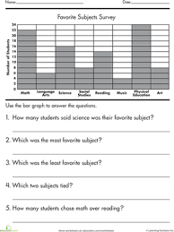 graphing survey data worksheet education com