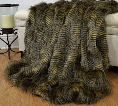 Faux Fox Fur Throw Faux Fur Throw Brown And Camel Ostrich Fake Fur Blanket