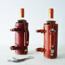 bicycle mounted leather wine bottle carrier bottle carrier