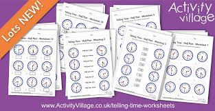 telling time worksheets for half past the hour