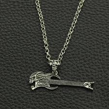 guitar necklace images New skull skeleton electric guitar necklace pendant vintage silver jpg